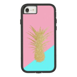 Capa iPhone 8/ 7 hortelã elegante do rosa do abacaxi do brilho do
