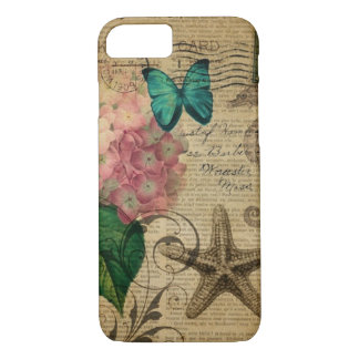 Capa iPhone 8/ 7 Hydrangea floral do seashell botânico francês da