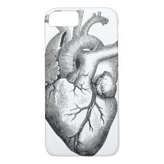 Capa iPhone 8/ 7 Ilustração branca preta simples do coração da