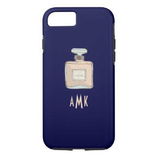 Capa iPhone 8/ 7 Ilustração da garrafa de Parfum com iniciais do