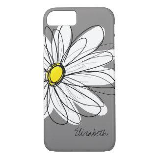 Capa iPhone 8/ 7 Ilustração floral da margarida na moda - cinzas e