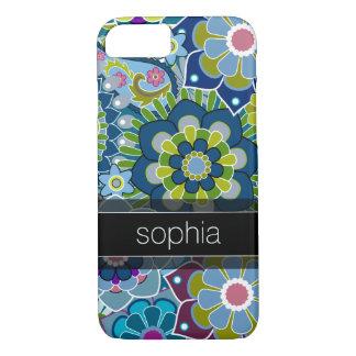 Capa iPhone 8/ 7 Ilustração floral retro do teste padrão com nome