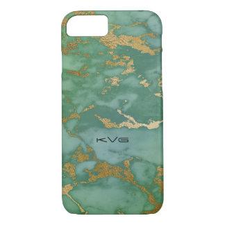 Capa iPhone 8/ 7 Imagem clara do verde esmeralda & do ouro da
