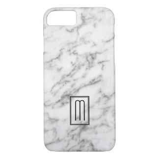 Capa iPhone 8/ 7 Imagem do monograma de mármore branco & cinzento