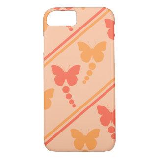 Capa iPhone 8/ 7 Impressão alaranjado cor-de-rosa das listras dos