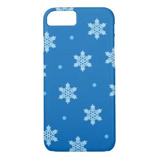 Capa iPhone 8/ 7 Impressão azul do Natal do floco de neve