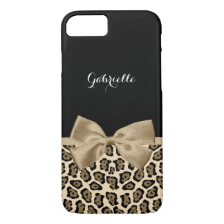 Capa iPhone 8/ 7 Impressão bonito de Brown Jaguar com arco e nome