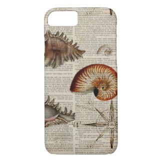 Capa iPhone 8/ 7 impressão botânico do seashell litoral do vintage