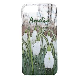 Capa iPhone 8/ 7 Impressão da flor branca, snowdrops do primavera