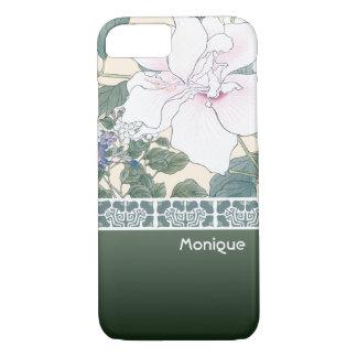 """Capa iPhone 8/ 7 Impressão de bloco de madeira """"hibiscus e"""