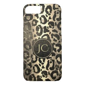 Capa iPhone 8/ 7 Impressão de Jaguar do leopardo do brilho do ouro