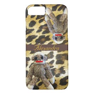 Capa iPhone 8/ 7 Impressão do leopardo do macaco da peúga