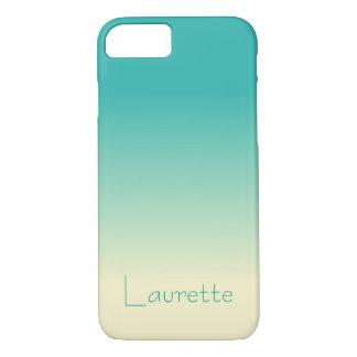 Capa iPhone 8/ 7 Inclinação simples customizável Ombre do Aqua e do