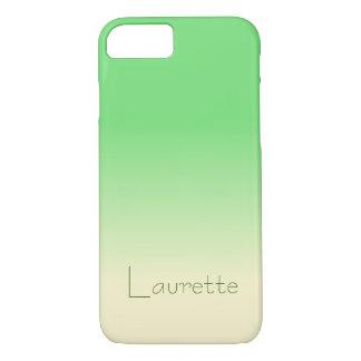 Capa iPhone 8/ 7 Inclinação verde pálido e de creme simples