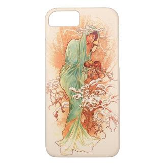 Capa iPhone 8/ 7 Inverno - arte Nouveau de Alphonse Mucha