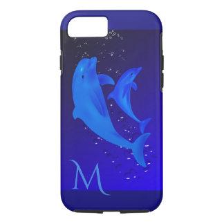 Capa iPhone 8/ 7 iPhone 7 do monograma do mar do oceano dos azuis