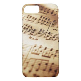 Capa iPhone 8/ 7 iPhone bege da folha de música do vintage 8/7 de