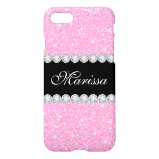 Capa iPhone 8/7 iPhone bonito de Zazzle do brilho do rosa Pastel