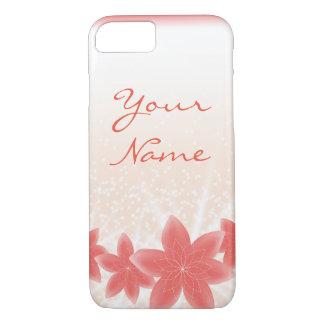 Capa iPhone 8/ 7 iPhone brilhante das flores do pêssego da faísca