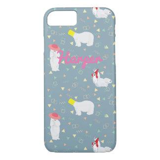 Capa iPhone 8/ 7 iPhone cinzento do anos 80 dos ursos polares 8/7