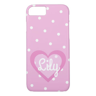 Capa iPhone 8/ 7 iPhone Customisable do coração cor-de-rosa bonito