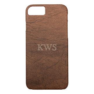 Capa iPhone 8/ 7 iPhone de couro do monograma da textura de Brown