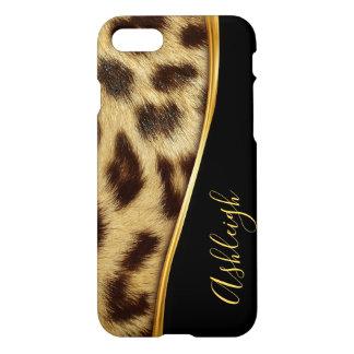 Capa iPhone 8/7 iPhone elegante 8 do monograma da pele do leopardo