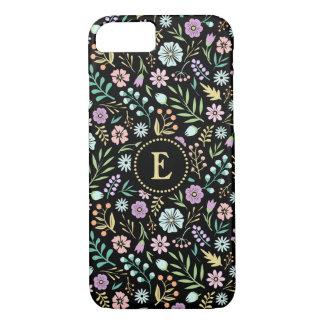 Capa iPhone 8/ 7 iPhone preto das flores lunáticas do monograma 8/7