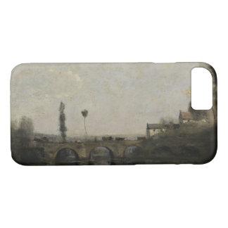Capa iPhone 8/ 7 Jean-Baptiste-Camilo Corot - paisagem com ponte