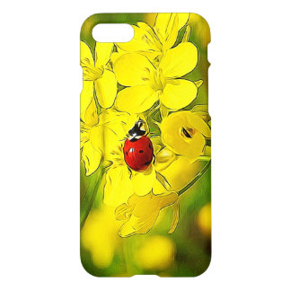 Capa iPhone 8/7 Joaninha amarelo do vermelho da boa sorte da flor