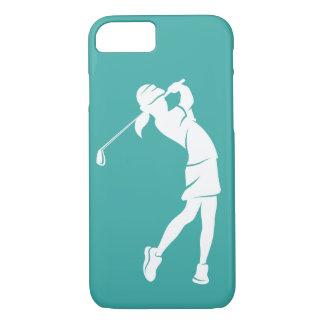 Capa iPhone 8/ 7 Jogador de golfe da menina que balança um ferro