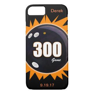 Capa iPhone 8/ 7 Jogo 300 alaranjado & preto com nome e data