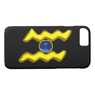 CAPA iPhone 8/ 7 JÓIA DO ANIVERSÁRIO DO ZODÍACO DE /GOLD DO AQUÁRIO