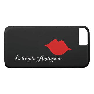 Capa iPhone 8/ 7 lábios vermelhos com seu preto do nome (pia-estilo