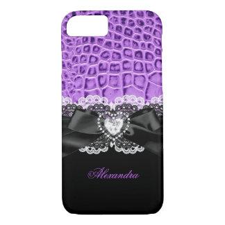 Capa iPhone 8/ 7 Laço animal preto roxo elegante 2 do coração do