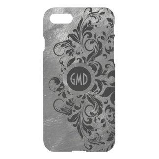 Capa iPhone 8/7 Laço de aço das cinzas de prata & preto escovado