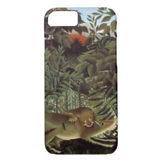 Capa iPhone 8/ 7 Leão com fome por Henri Rousseau, animal selvagem