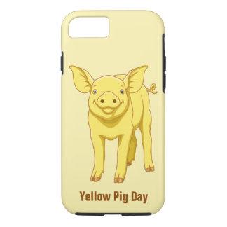 Capa iPhone 8/ 7 Leitão bonito porco dia do 17 de julho amarelo