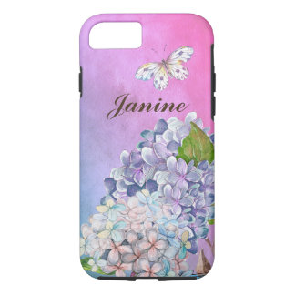 Capa iPhone 8/ 7 Lilac e sonho azul do verão da flor do Hydrangea