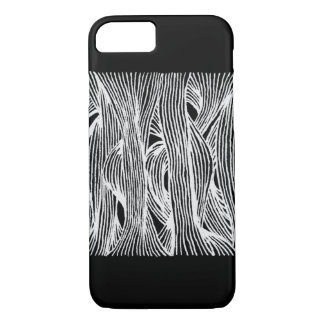 Capa iPhone 8/ 7 Lines fibers organic pattern black and white