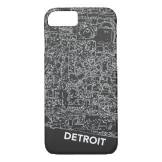 Capa iPhone 8/ 7 Linha caixa cinzenta escura de Detroit do mapa