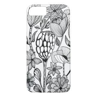 Capa iPhone 8/ 7 Linha preto e branco teste padrão de flor da arte