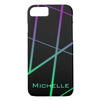 Capa iPhone 8/ 7 Linhas verdes e roxas personalizadas do inclinação