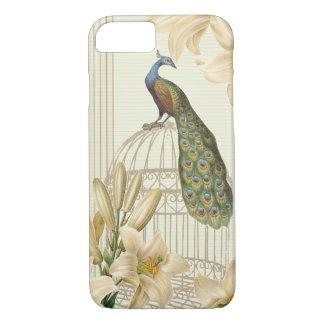 Capa iPhone 8/ 7 Lírio sofisticado do birdCage do pavão do vintage
