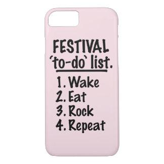 Capa iPhone 8/ 7 Lista do tumulto do ` do festival' (preto)