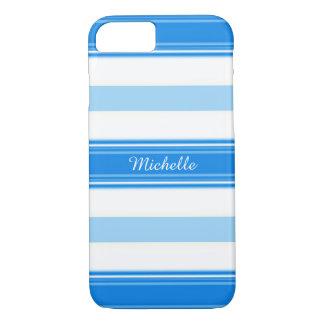 Capa iPhone 8/ 7 Listra azul e branca personalizada