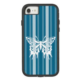 Capa iPhone 8/ 7 Listra Cerulean escura do Victorian com borboleta