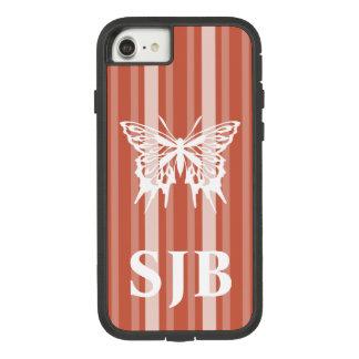 Capa iPhone 8/ 7 Listra coral escura do Victorian com borboleta