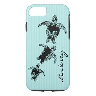 Capa iPhone 8/ 7 Listra do Aqua das tartarugas de mar com nome