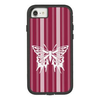 Capa iPhone 8/ 7 Listra do Victorian da framboesa com borboleta